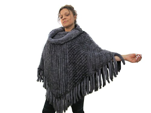 FursNewYork vison tricoté fourrure pull poncho avec col bénitier Sapphire Mink