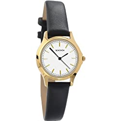 Sekonda Classic Analogue White Dial Gold Plated Case Black Strap Ladies Watch 4136