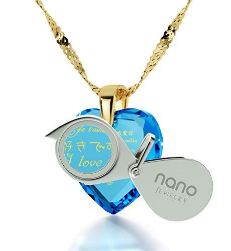 Pendentif Coeur - Bijoux Plaqué Or avec Je t'aime en 12 langues inscrit en Or 24ct sur un Zircon Cubique en Forme de Coeur, Chaine en Or Laminé de 45cm - Bijoux Nano Bleu