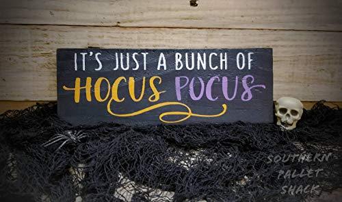 C-US-lmf379581 Hocus Pocus Holzschild, It's Just a Bunch of Hocus Pocus, Hocus Pocus and Chill, Halloween Dekor, Holz Hexe Schild, Halloween Schild