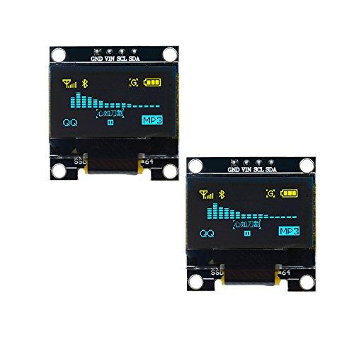 Diymore I2C IIC - Módulo de pantalla LED para Arduino Raspberry PI 51 MSP430 STM32 SCR (0,96 pulgadas, 128 64, 128 x 64), 2PCS Yellow Blue, 1