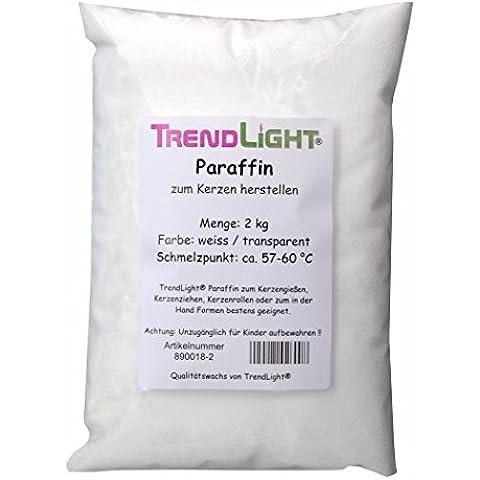 TrendLight 890018-2 - Cera de parafina pura para hacer velas (2 kg), color blanco