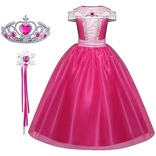 FStory&Winyee Mädchen Prinzessin Kostüm Dornröschen Aurora Kleid Kinder Kostüm Karneval Cosplay Märchen Verkleidung Set Diadem Zauberstab Geschenk Fasching Party Geburtstag Weihnachten Festkleid Rosa