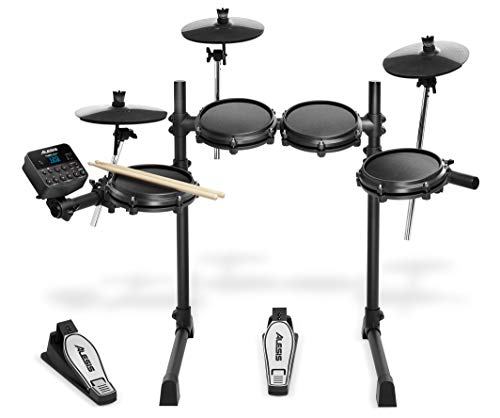 Alesis Turbo Mesh Kit 7-teiliges E-Drum-Set mit Mesh-Heads, super solidem Aluminium-Gestell, mehr als 100 Sounds, 30 Play-Along-Tracks, Anschlusskabel, Drum-Sticks und Drum-Key mit im Lieferumfang