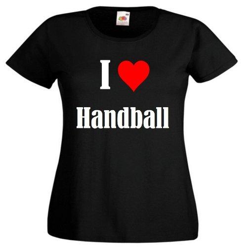 """T-Shirt """"I Love Handball"""" für Damen Herren und Kinder ... in der Farbe Schwarz Schwarz"""