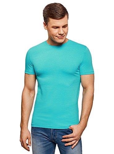 oodji Ultra Hombre Camiseta sin Etiqueta Básica de Algodón, Turquesa, ES 50 / M