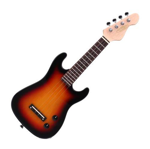 Classic Cantabile UE-200ST E-Ukulele inkl. Tonabnehmer (Sopranukulele, Uke, Hawaii-Gitarre, ST-Form, Linde Korpus, Palisander Griffbrett, Ahorn Hals, Nylonsaiten)