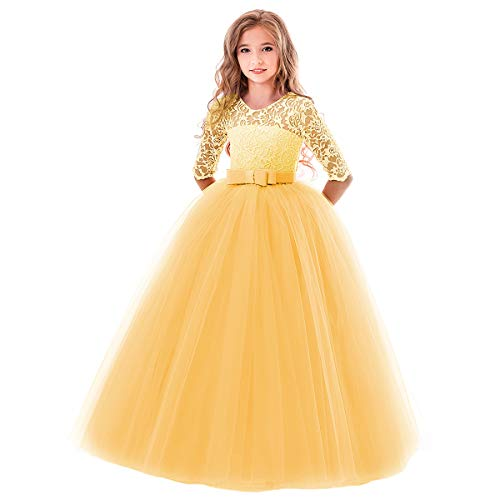 OBEEII Kleider Für Mädchen Blumenspitze Kurze Ärmel Elegante Blumenmädchenkleider Kommunionskleid Taufkleidung Kostüm Gelb 13-14 Jahre