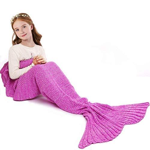 jrhagrid coperta a forma di coda di sirena, lavorata a maglia, per bambini e adulti, per divano, calorosa, da 190 x 90 cm kids-pink