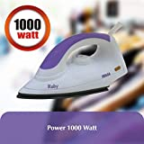 Inalsa Ruby 1000-Watt Dry Iron with Non-Stick Coated Soleplate (White and Purple)