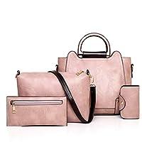 PU leer dames schoudertas Fashion Tote Bag Casual Werk, Schouder Handbagwith verstelbare schouderriem, Gestileerde mode schoudertas Purse 3pcs (Color : B)