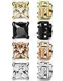 Milacolato 4 Pairs Magnet Ohrringe Herren Damen Ohrringe Set Zirkonia Ohrringe Ohne Ohrloch Schwarz Ohrringe Für Männer,8mm