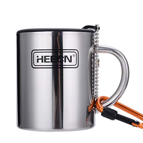 HEECN Doppelwandiger Campingbecher Mit Deckel hess-038bbk 300ml mit Drehbarem Trinkdeckel