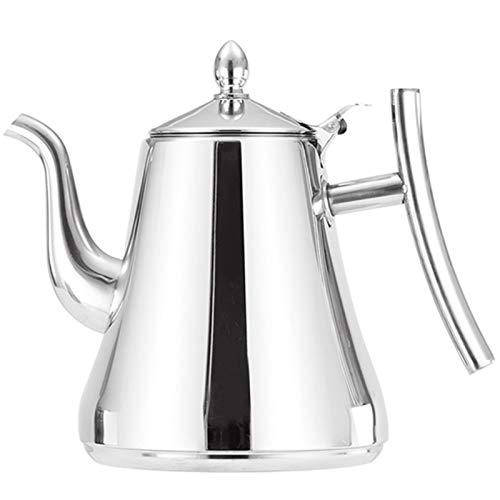 TOOGOO 1,5 L Edelstahl Tee Kanne Kaffee Kanne mit Filter Wasser Kocher Haus Hotel Bar Restaurant Edelstahl Wasser Kocher Topf Induktions Herd Wasser Kocher Silber