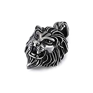 Daesar Stainless Steel Necklace for Men and Women Lion Head Necklace Silver Black
