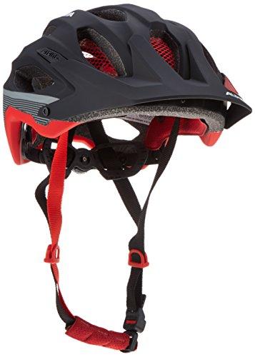 Alpina Radhelm Carapax Fahrradhelm, Black-red-darksilver, 57-62 cm