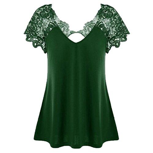 OverDose Damen Modedesign Sommer V-Ausschnitt Plus Größe Spitze Kurzarm Trim Cutwork T-Shirt Tops Bluse Tees Frauen Casual Oberteile (Green,EU-38/CN-XL) (Lace Trim Jean)