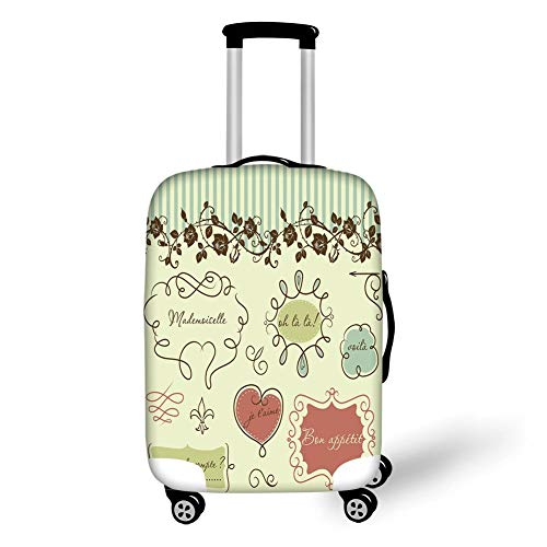 Travel Luggage Cover Suitcase Protector,Doodle,Vintage French Style Doodle Elegance Words Shabby Chic Classic Motif Decorative,Pale Green Chocolate Coral,for TravelM 23.6x31.8Inch -