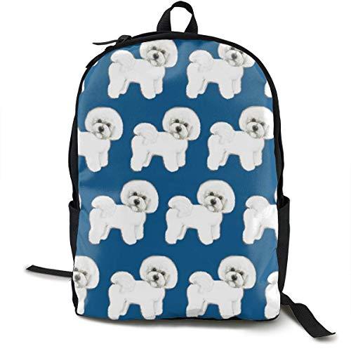 Hipiyoled Blau Bichon Frise Stoff Rucksäcke für Frauen Männer, Computer Laptop Rucksack, Casual Book Bag Reisen Camping Daypack -