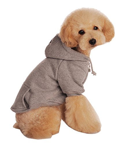 Kleiner Hund Einfarbig Kapuzenpullis Winterjacken Pullover Sweatshirt Hundemantel Kapuzenjacke Grau M