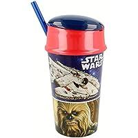 Star Wars Vaso plastico con Tapa, Pajita y Compartimento Snack 400 ML (STOR 82501