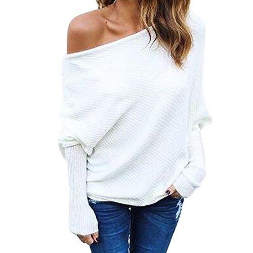 Manches Longues Shirt Femme Sexy Epaules Dénudées Pull en Tricot Couleur Unie Jumper Hiver Automne Casual Lâche Chemise Top Blanc
