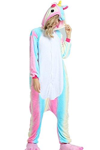 VineCrown Schlafanzug Einhorn Pyjamas Tier Overall Karikatur Neuheit Jumpsuit Kostüme für Erwachsene Kinder Weihnachten Karneval (S for 150CM- 160CM, Colorful)
