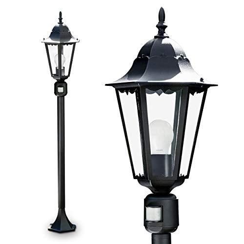 klassische Außenstehleuchte Hongkong mit Bewegungsmelder im klassischem Look in schwarz Sockelleuchte aus Alu und Glas – Wegeleuchte mit E27-Fassung – Pollerleuchte LED geeignet