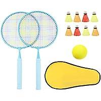 Toyvian Juego de Bádminton para Niños de 12 Piezas Raquetas de Bádminton para Niños Pelotas de Tenis Deportivas con Bolsa de Almacenamiento para El Desarrollo Deportivo Temprano