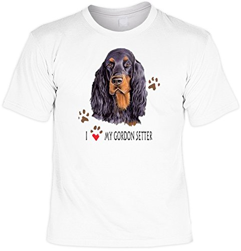 Hunde Shirt/ T-Shirt mit Dog Aufdruck: I love my Gordon Setter - tolles Tier-Motiv für Hundefreunde Weiß