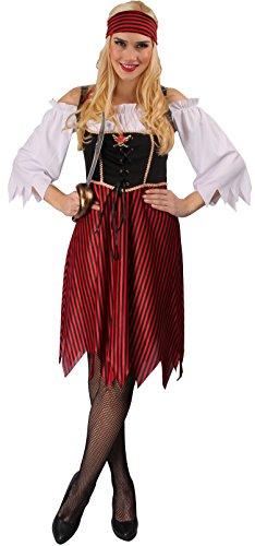 Cosplay Weiss Kostüm Schnee (Piratenkostüm rot-schwarz-weiß für Damen | Größe 40/42 | 2-teiliges Piratin Kostüm | Piratenbraut Faschingskostüm für Frauen | Seeräuberin Kostüm für)
