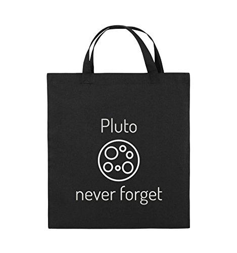 Comedy Bags - Pluto never forget - Jutebeutel - kurze Henkel - 38x42cm - Farbe: Schwarz / Silber Schwarz / Silber