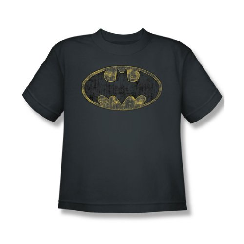 Batman - Jugend Tattered Logo T-Shirt, X-Large, Charcoal (Batman-logo-jugend-t-shirt)