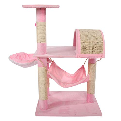 Bulary Katzenkratzbaum rosa mit Sisal bezogen Kratzbaum Katzenmöbel für Kätzchen Lamm