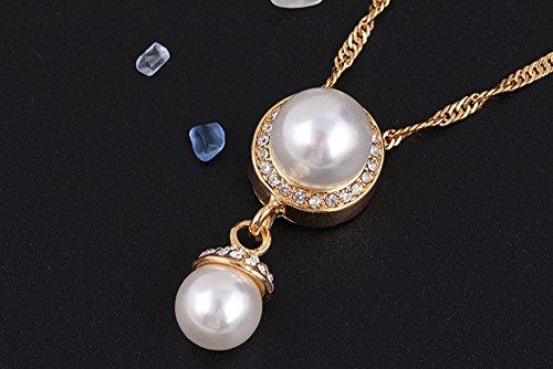 Vente Chaude Mode Sucré Alliage Simulé Perle Rhinestone Mariage Fête Collier Et Boucles D'Oreilles Ensemble De Bijoux or