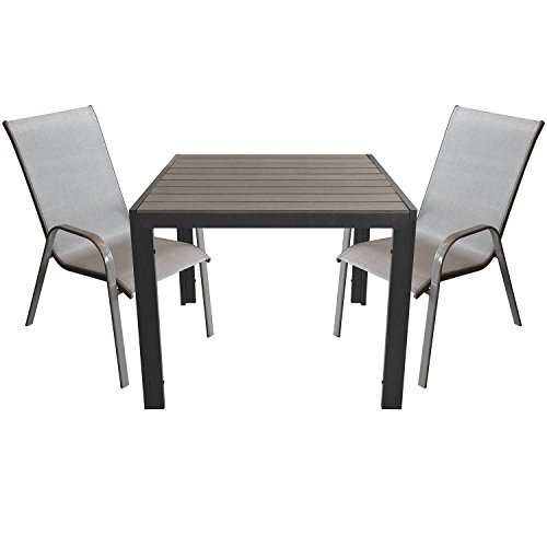 3tlg. Gartenganitur Aluminium Gartentisch mit Polywood-Tischplatte 90x90cm + Stapelstuhl mit Textilenbespannung Gartenmöbel Sitzgruppe Sitzgarnitur