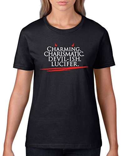 Comedy Shirts - Charming charismatic devil-ish Lucifer - Damen T-Shirt - Schwarz / Weiss-Rot Gr. XXL - Devils Crewneck