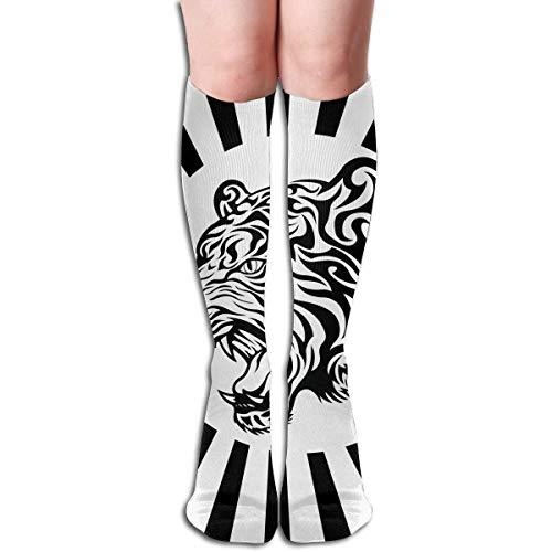 Jxrodekz White Black Tiger Design Elastic Blend Long Socks Compression Knee High Socks (50cm) for Sports