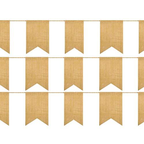 Poualss 20 Stück Sackleinen Banner, Schwalbenschwanz Flagge für DIY handgemalte Dekoration für Urlaub, Camping, Hochzeit und Party 14.5 Ft