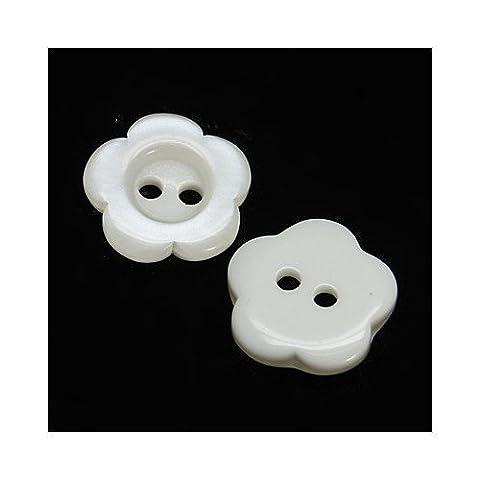 Paquet 20 x Blanc Résine 15mm Boutons Fleur (2 Trou) - (HA14075) - Charming Beads