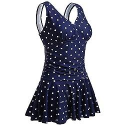 Summer Mae para mujer de talla grande una sola pieza, azul oscuro con puntos