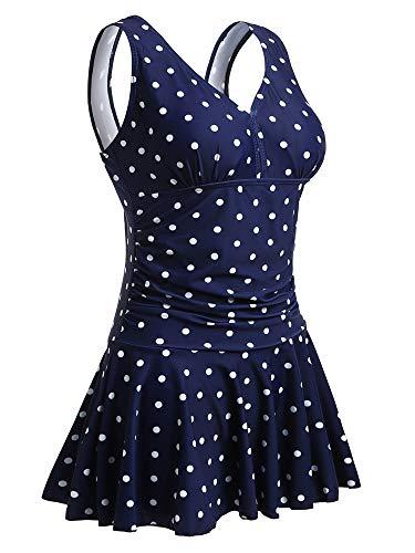 Summer Mae Damen Badekleid Plus Size Geblümt Figurformender Einteiler Badeanzug Swimsuit Navy Polka Dot EU 42-44 / L