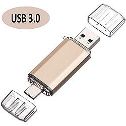 Clé USB 64Go 2 en 1 Type-C et USB 3.0 Stockage Carte Flash Drive Mémoire Stick U Disque pour Smartphone Android et Tablette (64Go, Or)