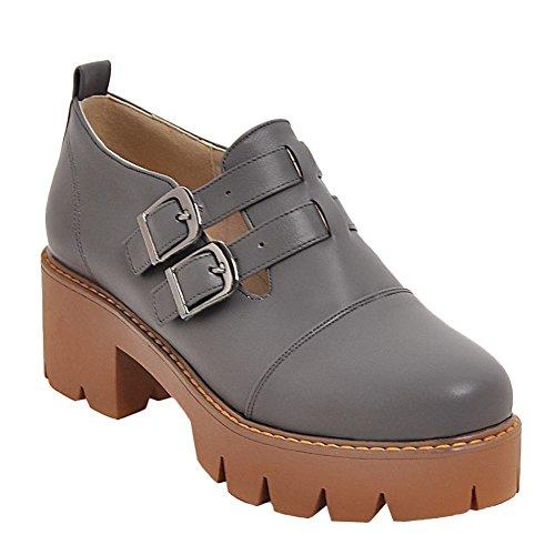 MissSaSa Donna Scarpe col Tacco Basso Flatform Shoes Casual Grigio