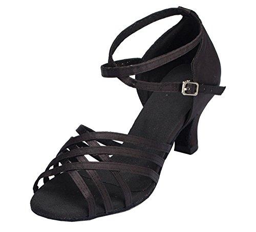 Minitoo femme Découpe caractères Latin Chaussures de danse Satin Noir