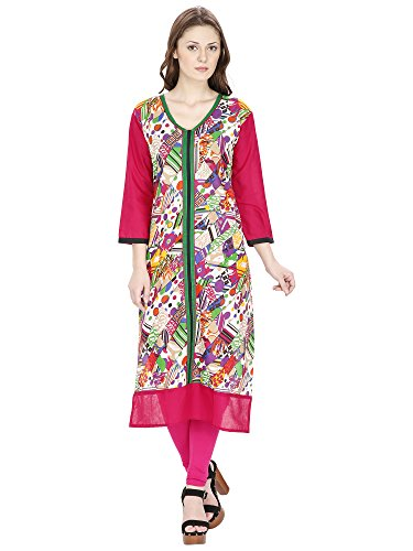 Agroha-Womens-Printed-Cotton-Straight-KurtiKurta-34-Sleeves