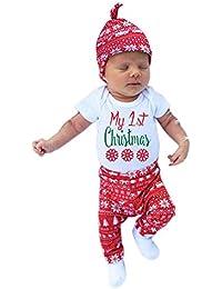 ESHOO recién nacido bebé Navidad Pelele + pantalones + diadema + sombrero traje Set 4piezas
