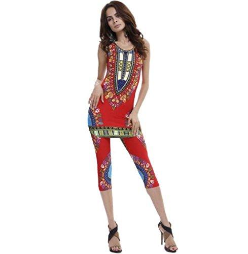 FEITONG Débardeur Femmes Mode Vintage African Tribal Print Elastic gaine et pantalon 2 Piece Set Rouge