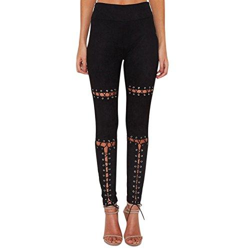 LAEMILIA Damen Leggings Lace up Ripped Hose Bandage Löchern mit hohe Taille  Stretch Skinny Hosen Bleistifthose 5fd11f76d6