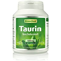Greenfood Taurin, 500mg, extra hochdosiert, 120 Kapseln preisvergleich bei fajdalomcsillapitas.eu